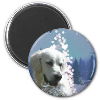Labrador Retriever Winter 6 Cm Round Magnet