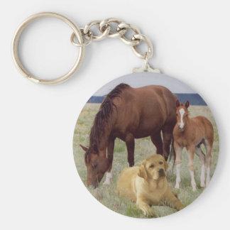 Labrador Retriever With Horses Keychain