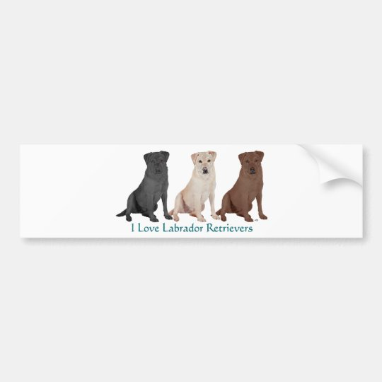 Labrador Retrievers - 3 Colours to Love Bumper Sticker