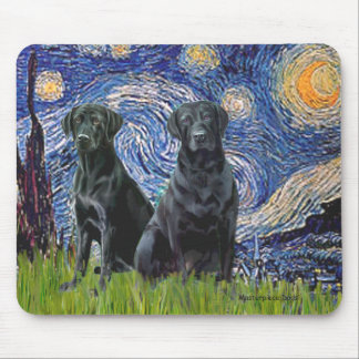 Labrador (two black) - Starry Night Mouse Pad