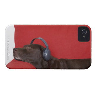 Labrador wearing headphones lying on sofa iPhone 4 Case-Mate case