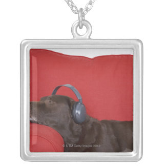 Labrador wearing headphones lying on sofa silver plated necklace