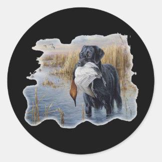 Labrador with Duck- Duck Hunting Round Sticker