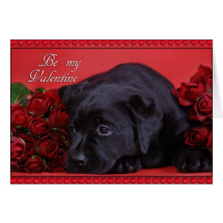 Labrador with roses greeting card