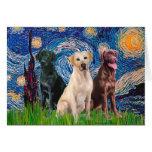 Labradors (3) - Starry Night Greeting Card