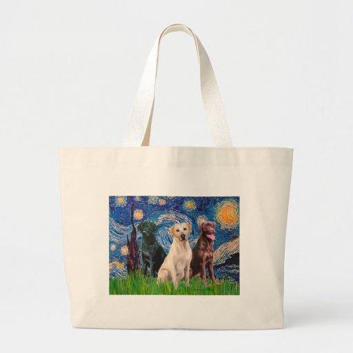 Labradors (3) - Starry Night Jumbo Tote Bag