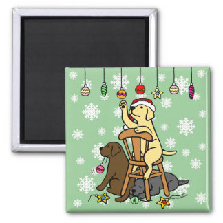 Labradors and Christmas Ornaments Cartoon Square Magnet