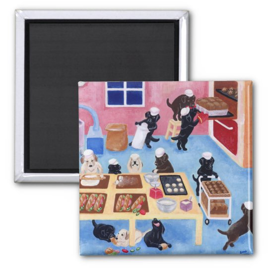 Labradors Bakery Square Magnet