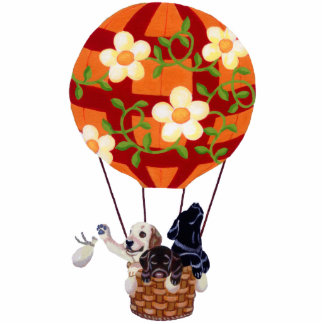 Labradors & Hot Air Balloon Painting Photo Sculpture Decoration
