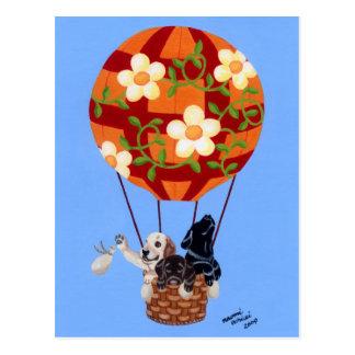 Labradors Hot Air Balloon Painting Post Card