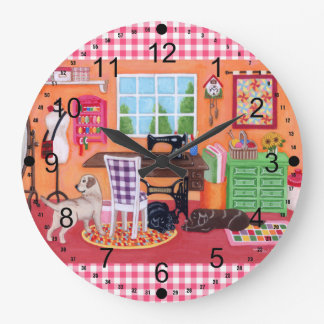Labradors in Mom's Sewing Room Painting Wall Clock