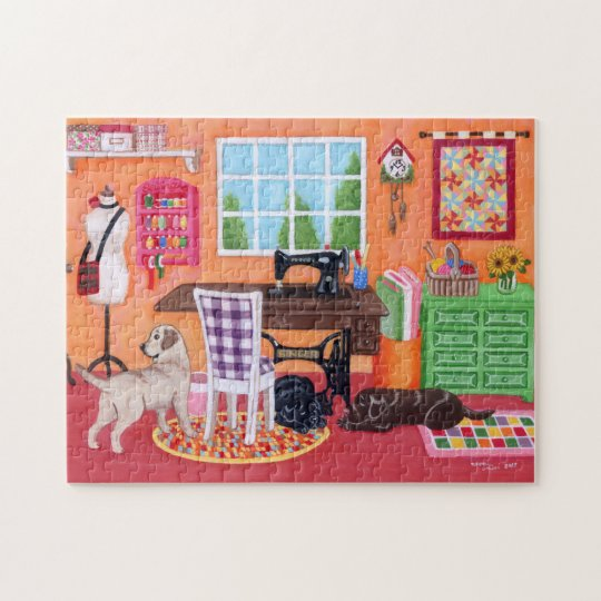 Labradors in Mum's Sewing Room Jigsaw Puzzle