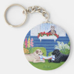 Labradors in the Garden Painting Basic Round Button Key Ring