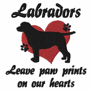 Labradors Leave Paw Prints Embroidered Hooded Sweatshirt