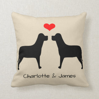 Labradors silhouette with heart personalized cushion