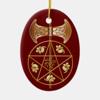 Labrys, Pentagram, & Holly - 2RedB Ornament
