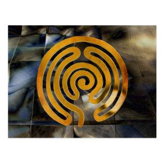 labyrinth antique gold   mosaic grunge postcard