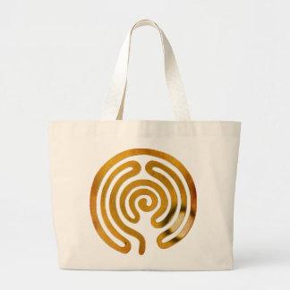 labyrinth antique gold canvas bags