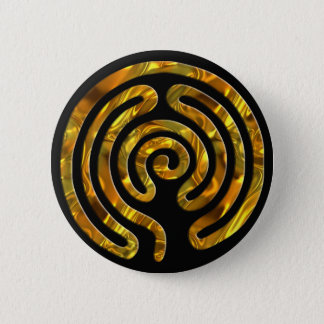 Labyrinth GOLD | black 6 Cm Round Badge
