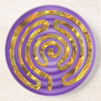 Labyrinth GOLD | violet ripples Sandstone Coaster
