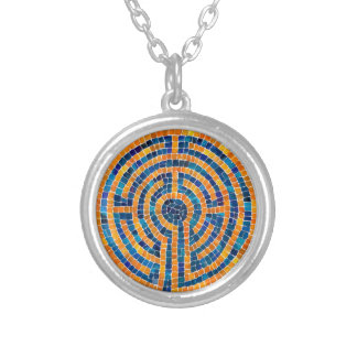 Labyrinth IV Silver Plated Round Necklace