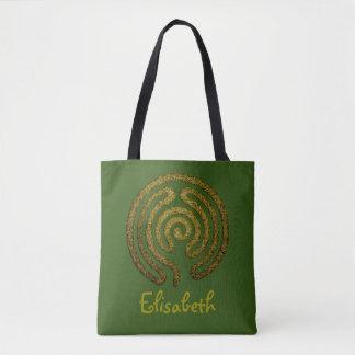 Labyrinth / maze - antique metal + your backgr. tote bag