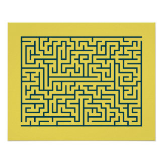 Labyrinth maze n° 17 light yellow cerulean blue poster