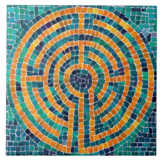 Labyrinth Mosaic II Large Ceramic Tile