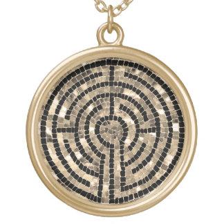 Labyrinth V Round Necklace - Gold Finish