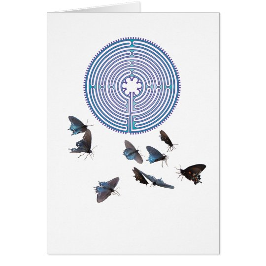 Labyrinth with Butterflies Greeting Card