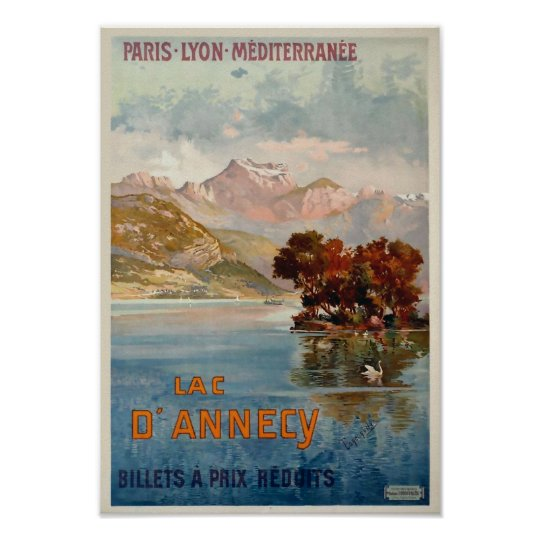 Lac d'Annecy/Annecy, Savoy, France/Vintage Travel Poster