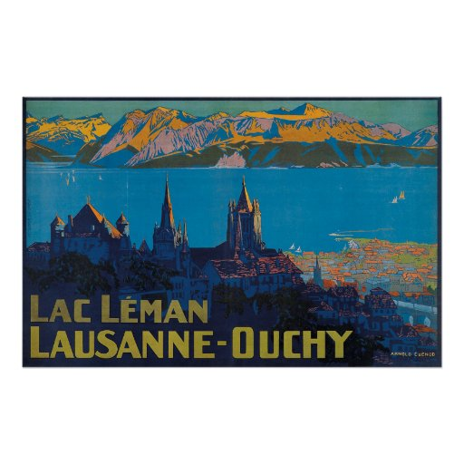 Lac Leman Lausanne Ouchy, Suisse Vintage Travel Poster