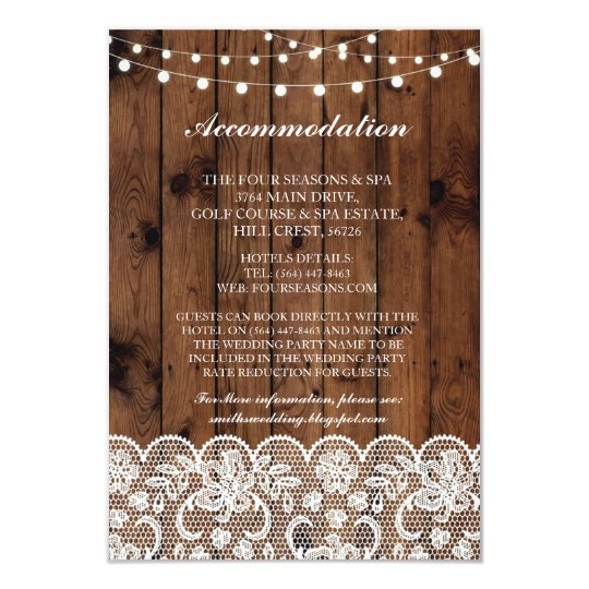 Lace Accommodation Wood Lights Wedding Cards