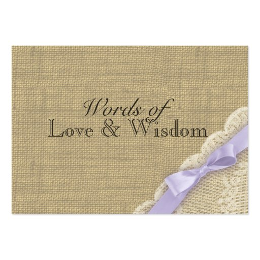Lace and Burlap Baby Shower Advice Cards Business Card