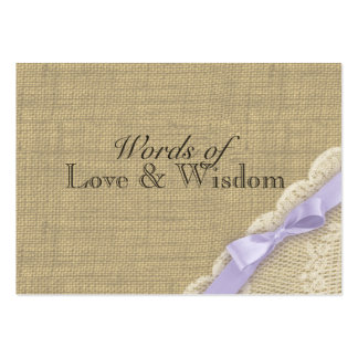 Lace and Burlap Baby Shower Advice Cards Pack Of Chubby Business Cards