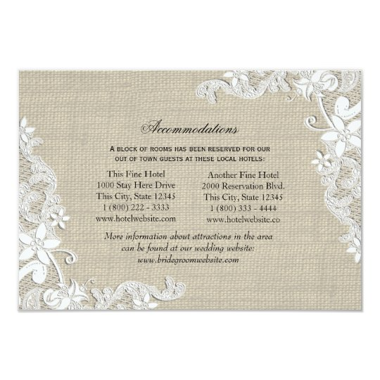 Lace and Burlap Directions Insert Card
