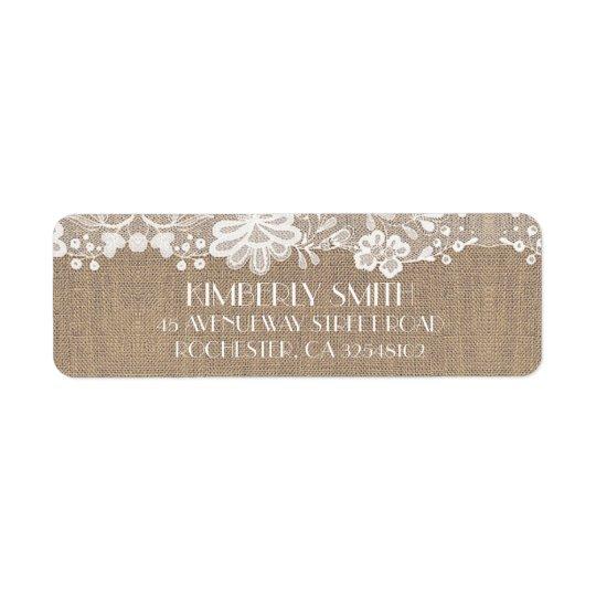 Lace and Burlap Elegant Vintage Wedding Return Address Label