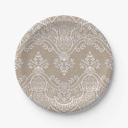Lace and Burlap Paper Plate