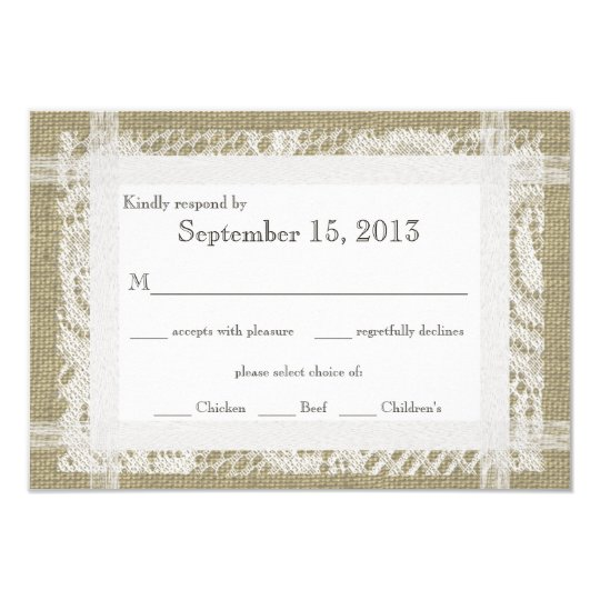 Lace and Burlap Reply Card
