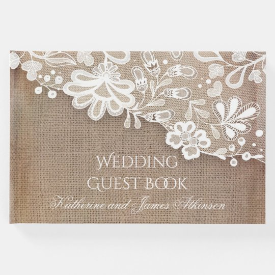 Lace and Burlap Rustic Country Wedding Guest Book