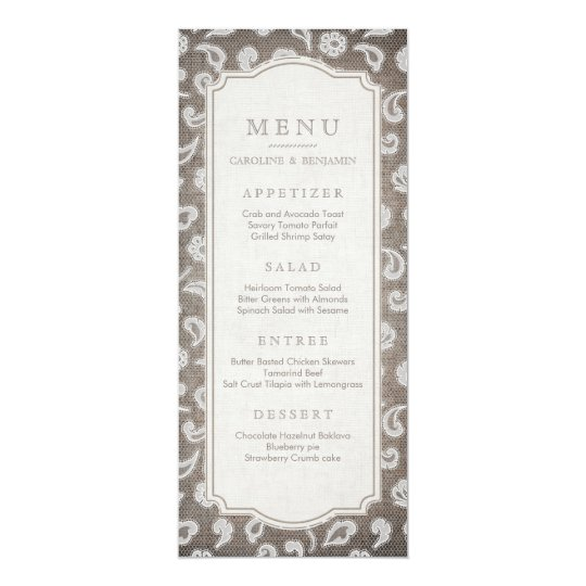 Lace and burlap rustic country wedding menu card