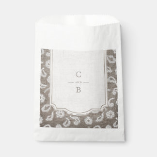 Lace and burlap rustic country wedding thank you favour bags