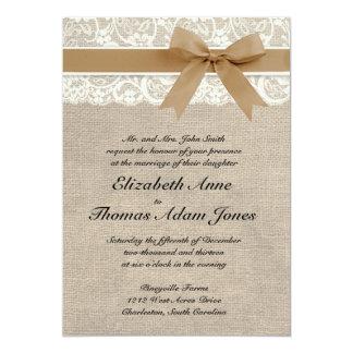 Lace and Burlap Rustic Wedding Invitation- Caramel Card