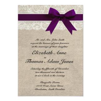 Lace and Burlap Rustic Wedding Invitation- Plum Card
