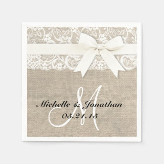Lace and Burlap Rustic Wedding Napkin White Paper Napkin
