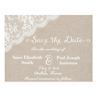 Lace and burlap Save the Date IV Postcard
