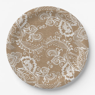 Lace and Burlap Shabby Chic Paper Plates 9 Inch Paper Plate