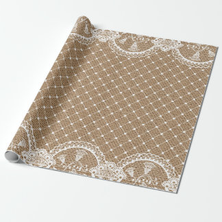Lace and Burlap Shabby Chic Wrapping Paper