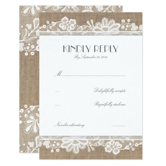 Lace and Burlap Vintage Wedding RSVP Cards