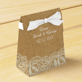 Lace and Burlap Wedding Favour Box